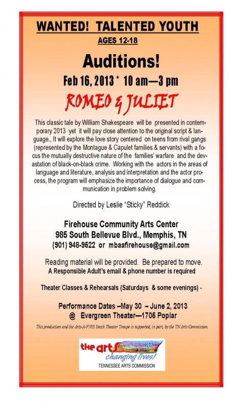 romeo and juliet teen auditions