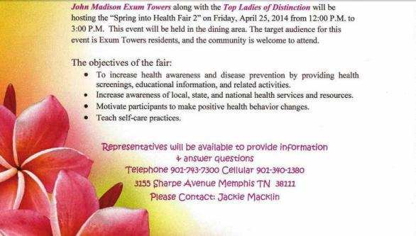 John Madison Exum Health Fair