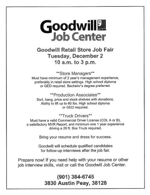 Goodwill job fair december 2014