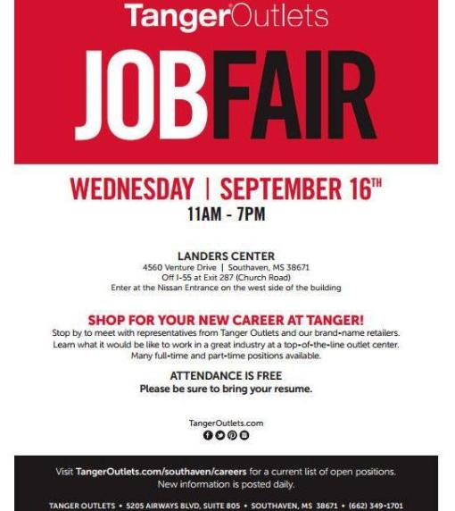 tanger outlet job fair
